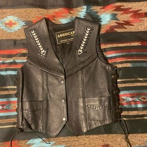 Vintage western Navajo black leather vest